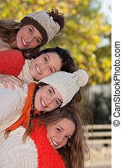herfst, vrolijke , groep, geitjes