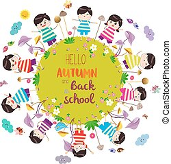 herfst, vrolijke , school., back