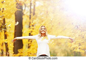 herfst, vrouw, vrolijke
