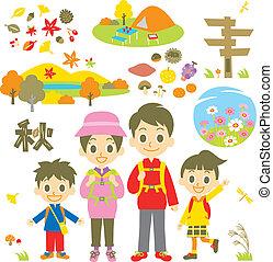 herfst, wandelende, gezin