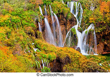 herfst, watervallen