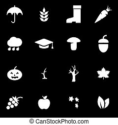herfst, witte , vector, set, pictogram