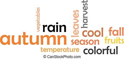 herfst, woord, -, wolk