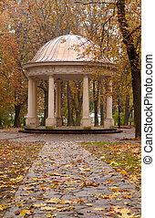 herfst, zomer, footpath, park, woning