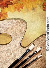 herfstachtig, abstract, stilleven, op, doek, achtergrond, voor, jouw, ontwerp