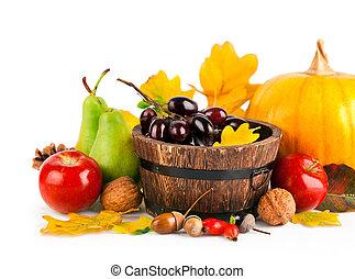 herfstachtig, oogsten, fruit en groenten, met, gele bladeren