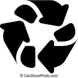 hergebruiken, eenvoudig, symbool, black