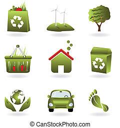 hergebruiken, en, groene, eco, symbolen
