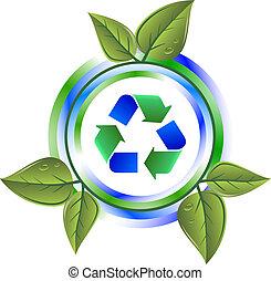 hergebruiken, groene, pictogram, met, bladeren