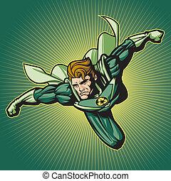 hergebruiken, held, (with, een, cape)