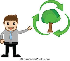 hergebruiken, het tonen, man, groene, pictogram
