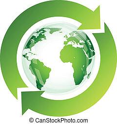 hergebruiken, meldingsbord, met, groen globe