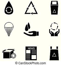 hergebruiken, set, pictogram