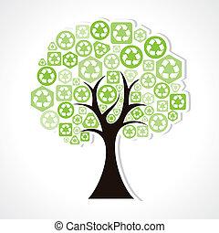 hergebruiken, vormen, boompje, iconen