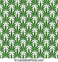 herhalen, bladpatroon, marihuana, groene achtergrond