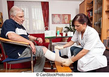 herida, cuidado, por, enfermeras