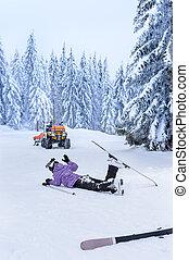 herido, accidente, patrulla, rescate, después, esquí, ...