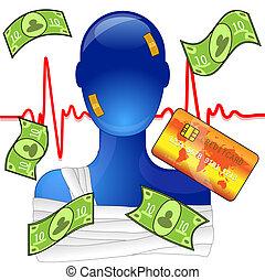 herido, ayuda, creditcard, dinero, médico, persona, costoso