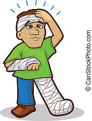 herido, caricatura, hombre