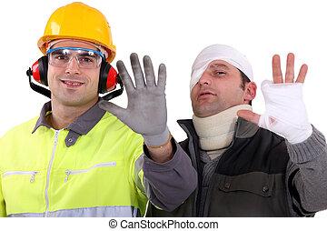 herido, comerciante, el comparar, el suyo, mano, a, un, sano, colega