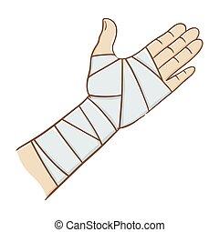 herido, mano, envuelto, en, vendaje elástico, vector,...