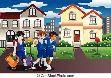 herido, niño, ambulante, casa escuela