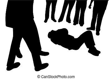 herido, posición, alrededor, gente, abajo, curioso, él, ...