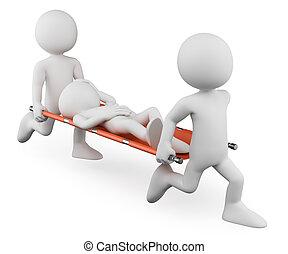 herido, proceso de llevar, doctors, personas., 3d, camilla, blanco