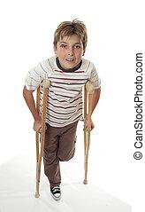 herido, utilizar, niño, muletas