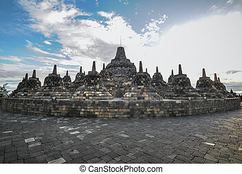 Heritage Buddist temple Borobudur complex in Yogjakarta in ...