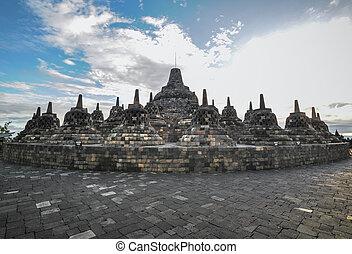 Heritage Buddist temple Borobudur complex in Yogjakarta in...