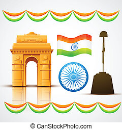 heritage india - vector patriotic indian elements