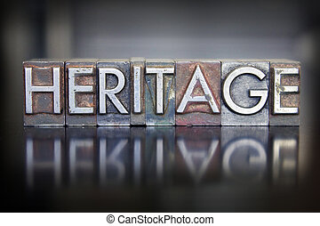 Heritage Letterpress - The word HERITAGE written in vintage...