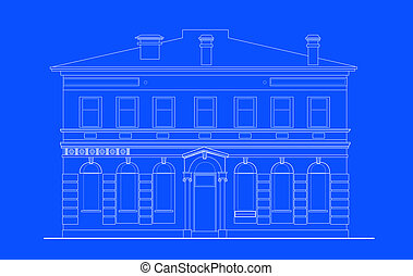 heritage mansion building viewed from front elevation on blue background