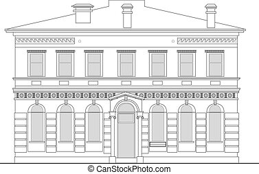 heritage mansion building viewed from front elevation on white background