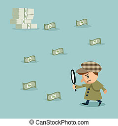 herlock: Using Magnifying Glass To Look at Money