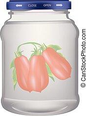 hermético, jarro, tomates, vidro