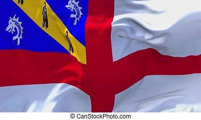 herm, voortdurend, seamless, zwaaiende , achtergrond., vlag, wind, 21., lus
