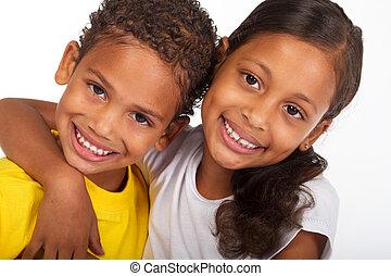 hermana, americano africano, hermano