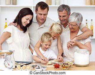hermana, cocina, hermano, hornada
