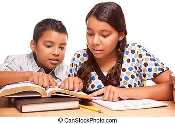 hermana, estudiar, hermano, hispano, diversión, teniendo