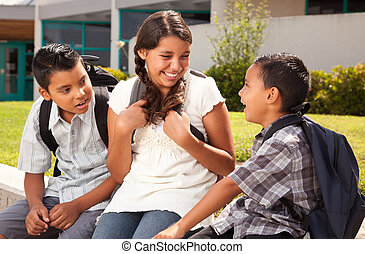 hermana, hermanos, hispano, escuela, hablar, listo