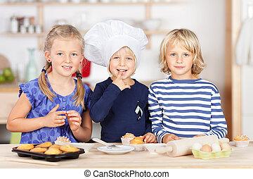 hermanas, cupcakes, hornada, encimera