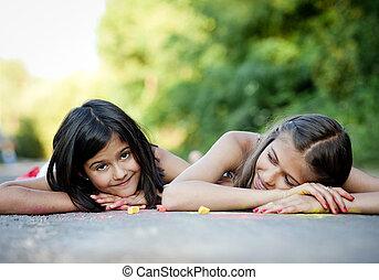 hermanas, diversión, dos, teniendo