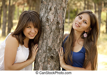 hermanas, park., dos, feliz