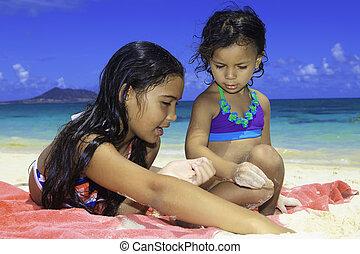 hermanas, playa, juego, polynesian