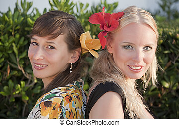 hermanas, retrato, dos