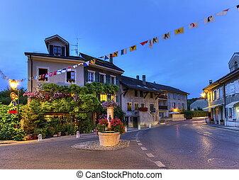 Hermance village fountain, Geneva, Switzerland, HDR -...