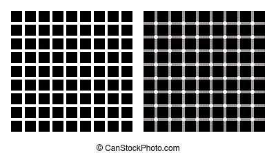 Hermann grid and scintillating grid illusion. In the left...