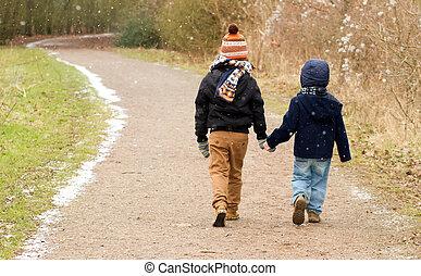 hermanos, el caminar junto, por, un, país, rastro